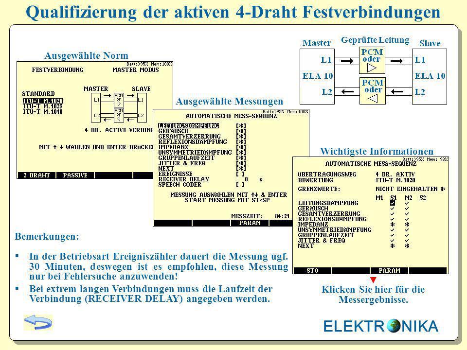 Qualifizierung der aktiven 4-Draht Festverbindungen Ausgewählte Norm Ausgewählte Messungen Wichtigste Informationen Bemerkungen: In der Betriebsart Er