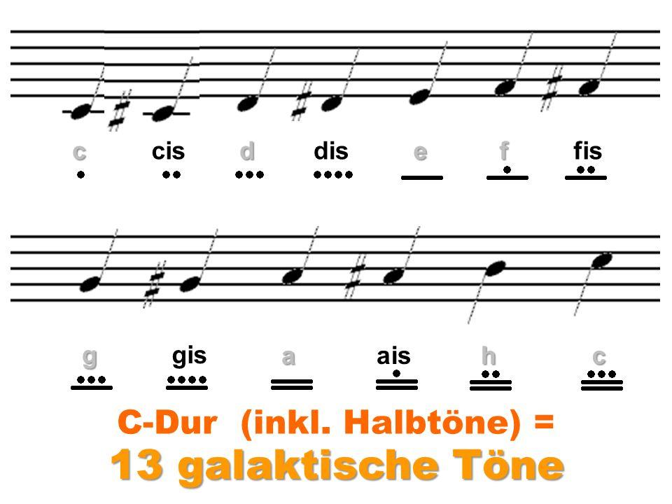 c 13 galaktische Töne cisddiseffis ggis aaishc C-Dur (inkl. Halbtöne) =