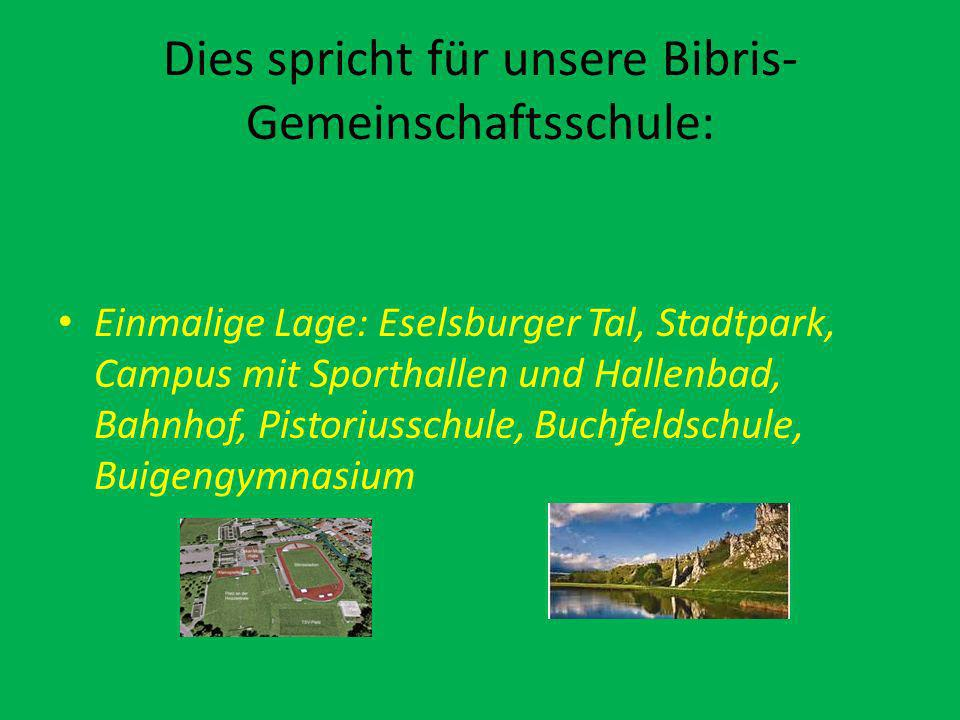Dies spricht für unsere Bibris- Gemeinschaftsschule: Einmalige Lage: Eselsburger Tal, Stadtpark, Campus mit Sporthallen und Hallenbad, Bahnhof, Pistoriusschule, Buchfeldschule, Buigengymnasium