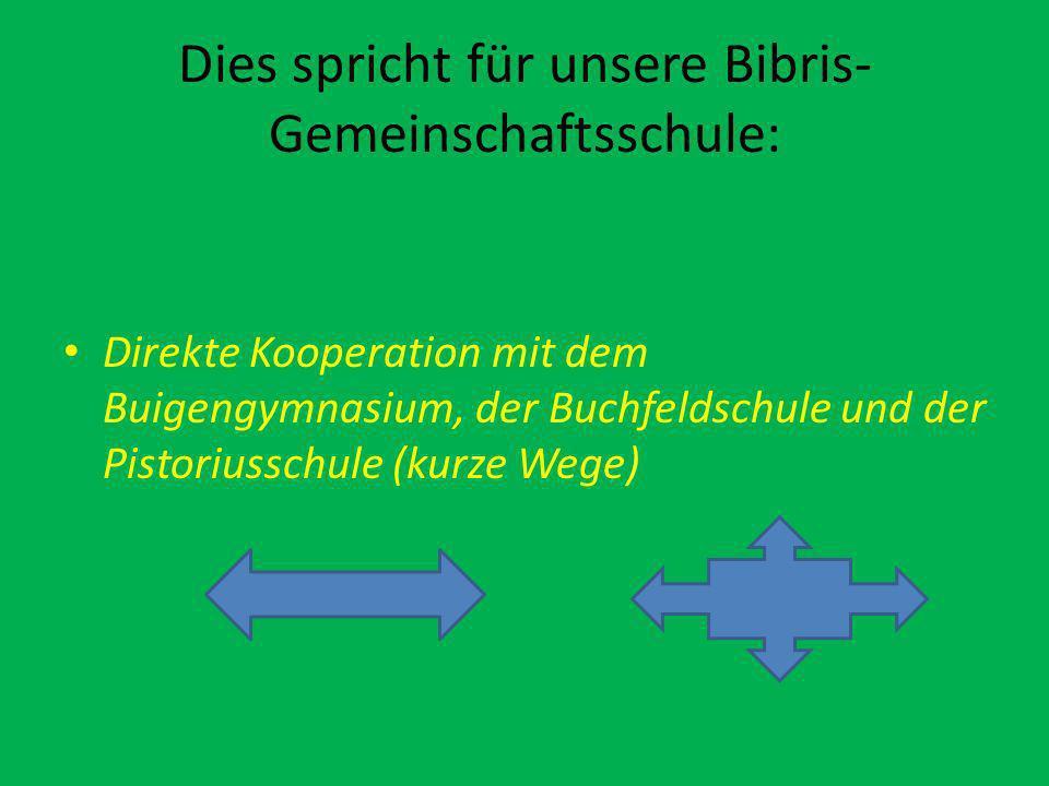 Dies spricht für unsere Bibris- Gemeinschaftsschule: Direkte Kooperation mit dem Buigengymnasium, der Buchfeldschule und der Pistoriusschule (kurze Wege)