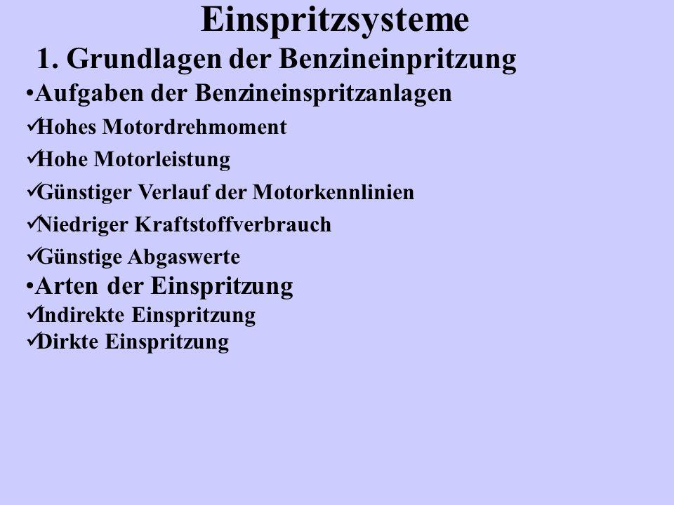 1. Grundlagen der Benzineinpritzung Aufgaben der Benzineinspritzanlagen Hohes Motordrehmoment Hohe Motorleistung Günstiger Verlauf der Motorkennlinien