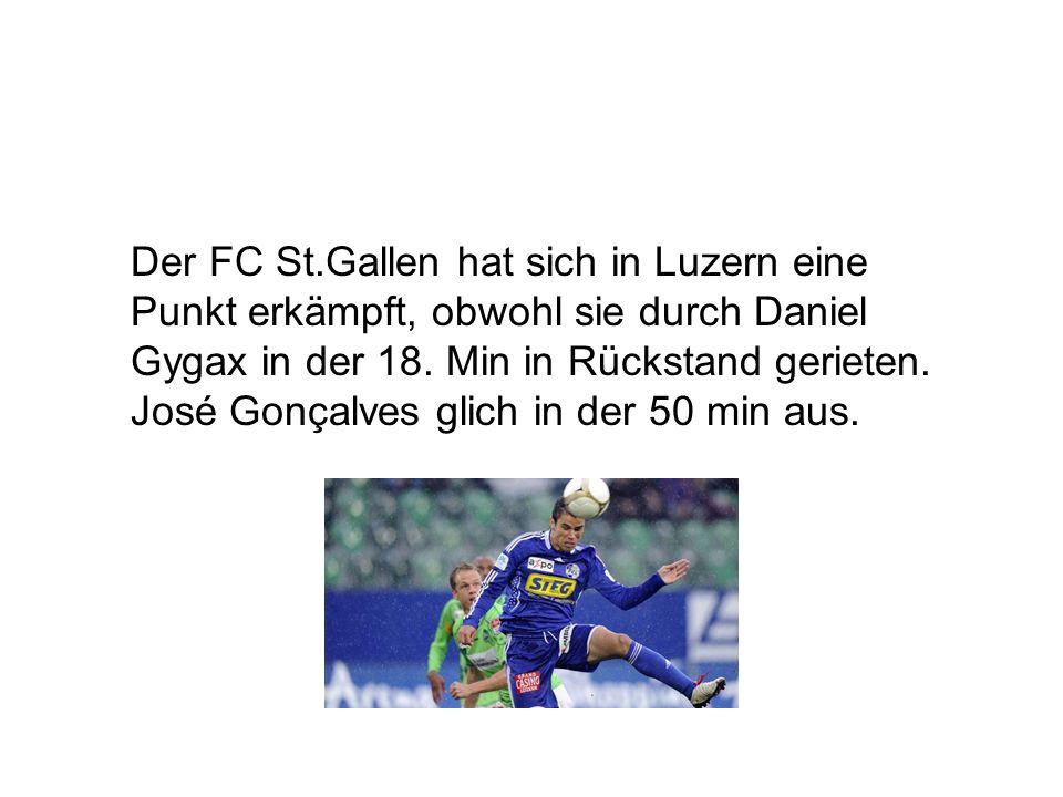Der FC St.Gallen hat sich in Luzern eine Punkt erkämpft, obwohl sie durch Daniel Gygax in der 18. Min in Rückstand gerieten. José Gonçalves glich in d