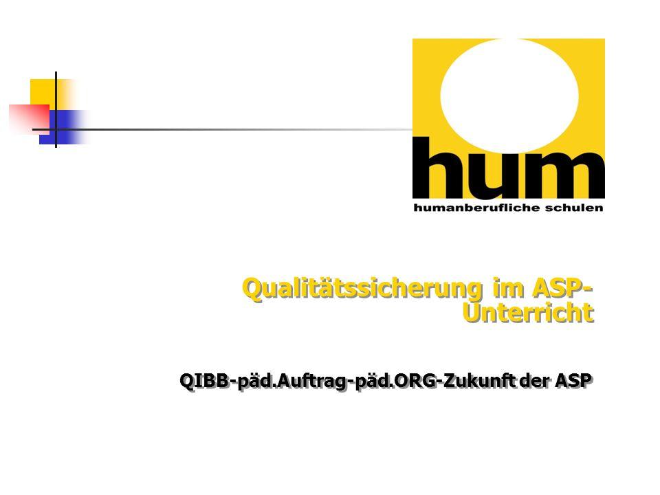 Qualitätssicherung im ASP- Unterricht QIBB-päd.Auftrag-päd.ORG-Zukunft der ASP Qualitätssicherung im ASP- Unterricht QIBB-päd.Auftrag-päd.ORG-Zukunft