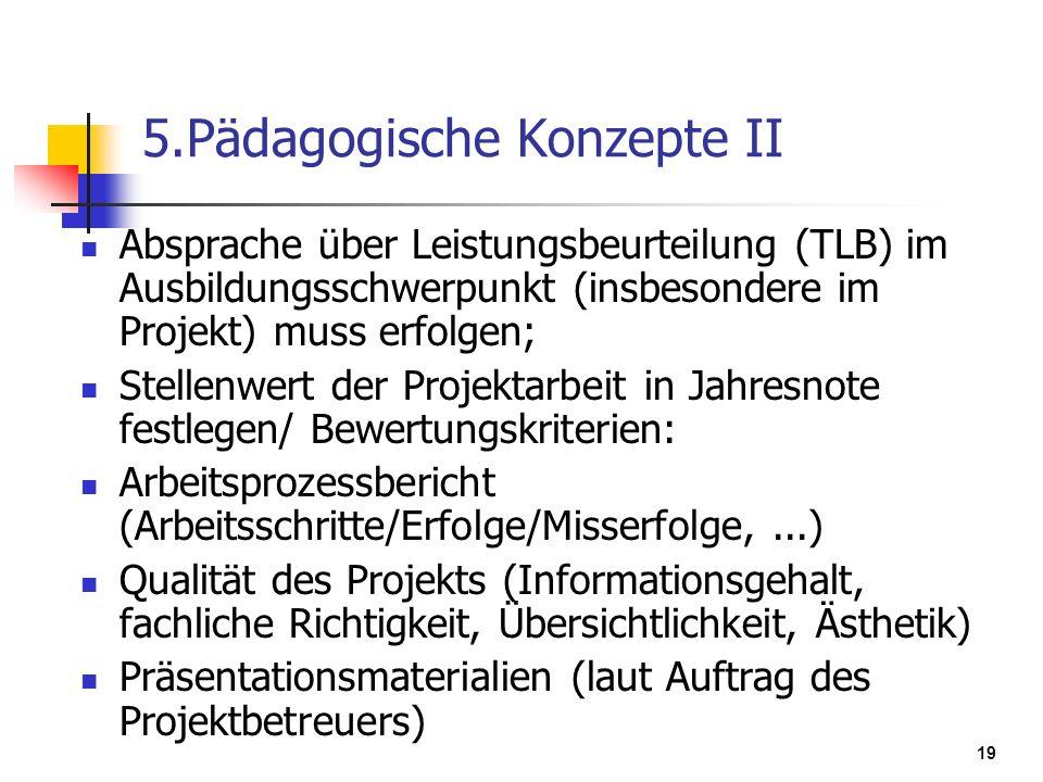 19 5.Pädagogische Konzepte II Absprache über Leistungsbeurteilung (TLB) im Ausbildungsschwerpunkt (insbesondere im Projekt) muss erfolgen; Stellenwert