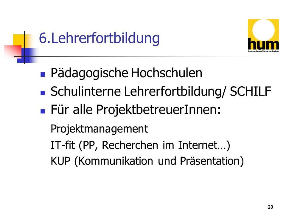 20 6.Lehrerfortbildung Pädagogische Hochschulen Schulinterne Lehrerfortbildung/ SCHILF Für alle ProjektbetreuerInnen: Projektmanagement IT-fit (PP, Re
