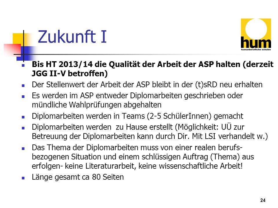 24 Zukunft I Bis HT 2013/14 die Qualität der Arbeit der ASP halten (derzeit JGG II-V betroffen) Der Stellenwert der Arbeit der ASP bleibt in der (t)sR