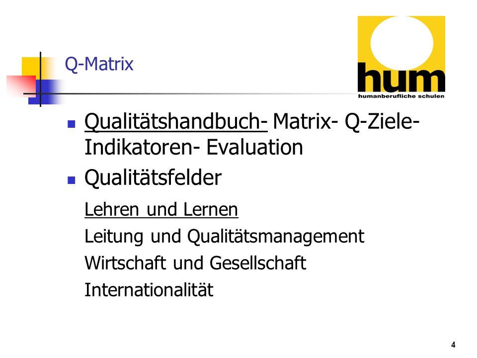 4 Q-Matrix Qualitätshandbuch- Matrix- Q-Ziele- Indikatoren- Evaluation Qualitätsfelder Lehren und Lernen Leitung und Qualitätsmanagement Wirtschaft un