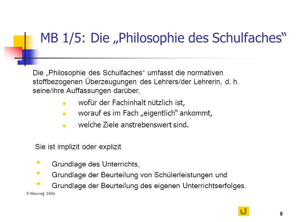 8 MB 1/5: Die Philosophie des Schulfaches wofür der Fachinhalt nützlich ist, worauf es im Fach eigentlich ankommt, welche Ziele anstrebenswert sind. D