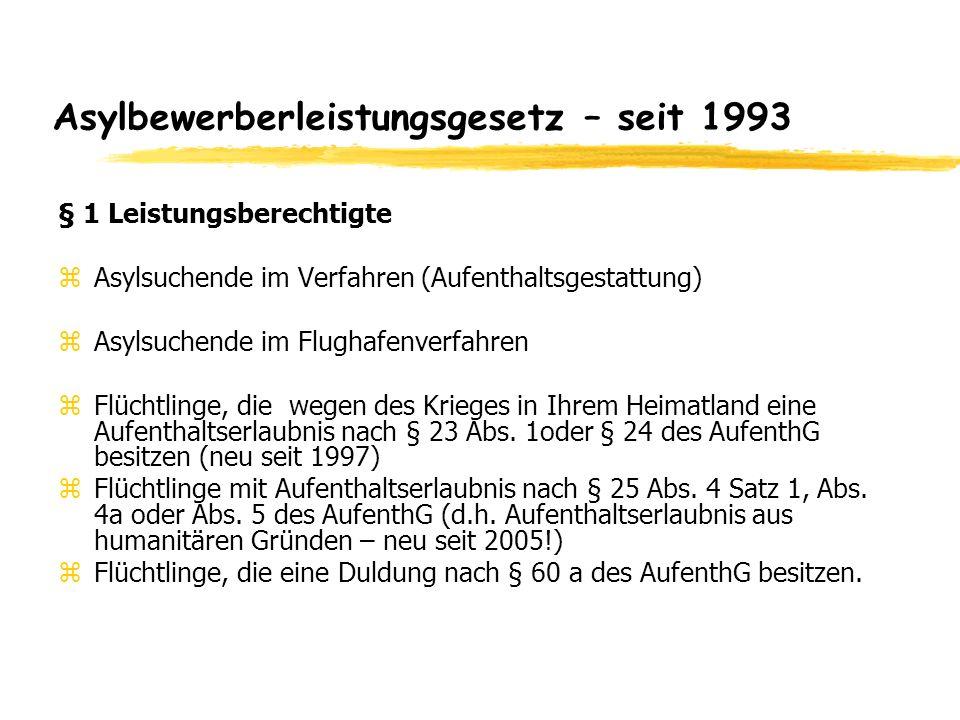 Asylbewerberleistungsgesetz – seit 1993 § 1 Leistungsberechtigte zAsylsuchende im Verfahren (Aufenthaltsgestattung) zAsylsuchende im Flughafenverfahre