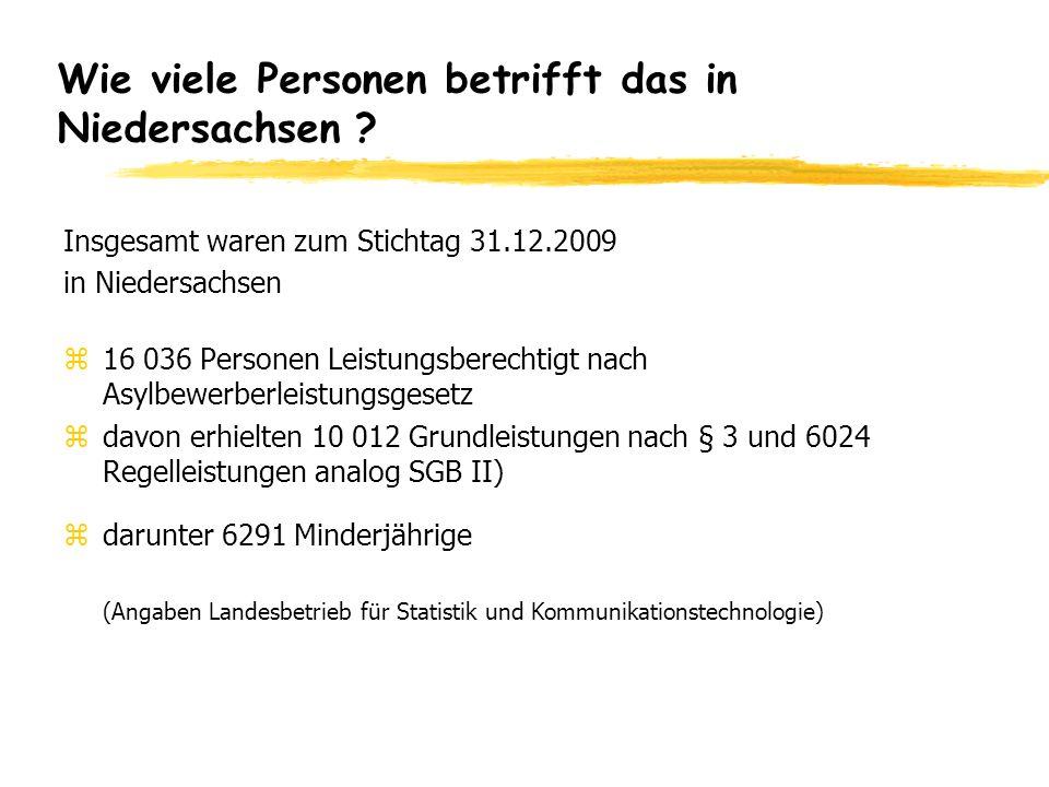 Wie viele Personen betrifft das in Niedersachsen ? Insgesamt waren zum Stichtag 31.12.2009 in Niedersachsen z16 036 Personen Leistungsberechtigt nach