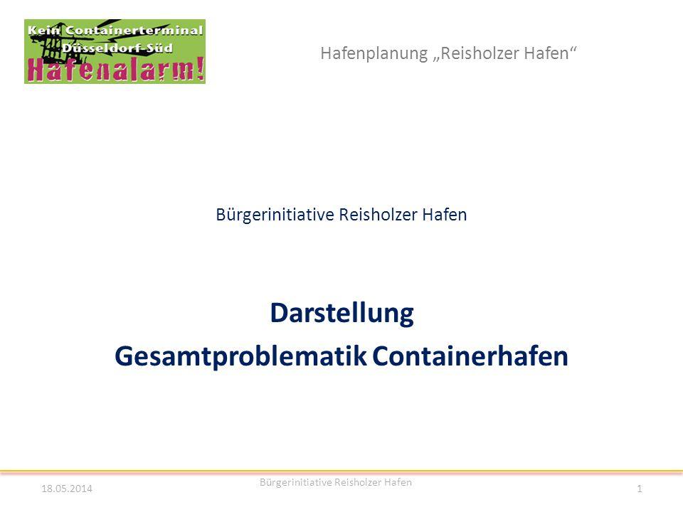 Hafenplanung Reisholzer Hafen Bürgerinitiative Reisholzer Hafen Darstellung Gesamtproblematik Containerhafen 18.05.2014 Bürgerinitiative Reisholzer Ha