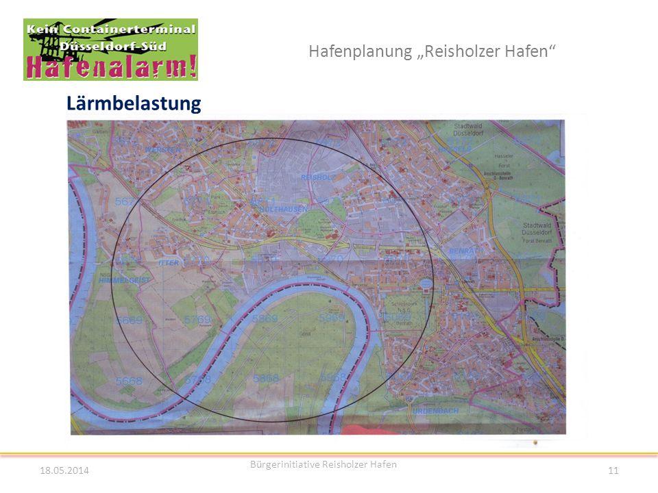 Hafenplanung Reisholzer Hafen Lärmbelastung 18.05.2014 Bürgerinitiative Reisholzer Hafen 11