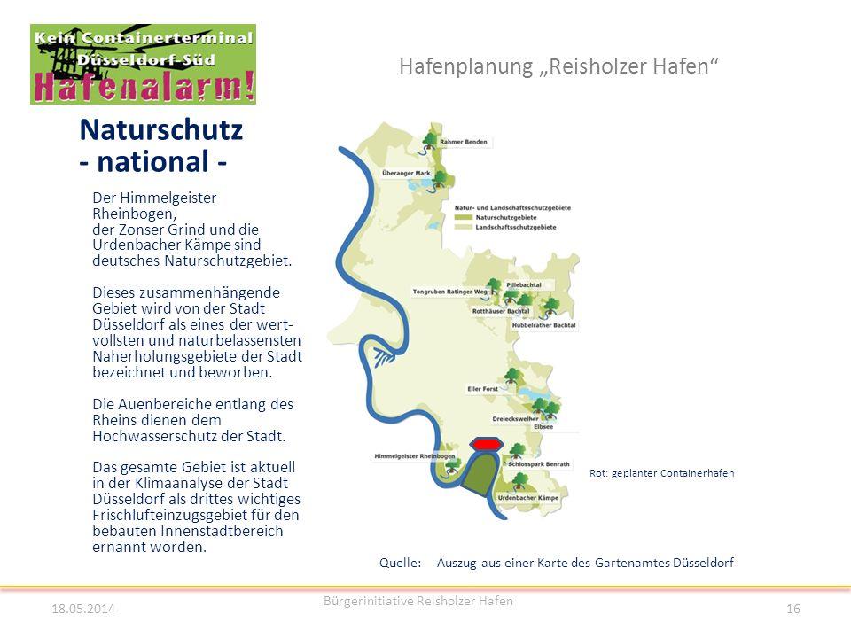 Hafenplanung Reisholzer Hafen Naturschutz - national - Rot: geplanter Containerhafen Quelle: Auszug aus einer Karte des Gartenamtes Düsseldorf 18.05.2