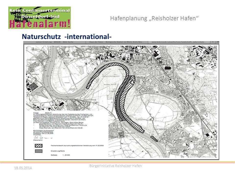 Hafenplanung Reisholzer Hafen Naturschutz -international- 18.05.2014 Bürgerinitiative Reisholzer Hafen 19