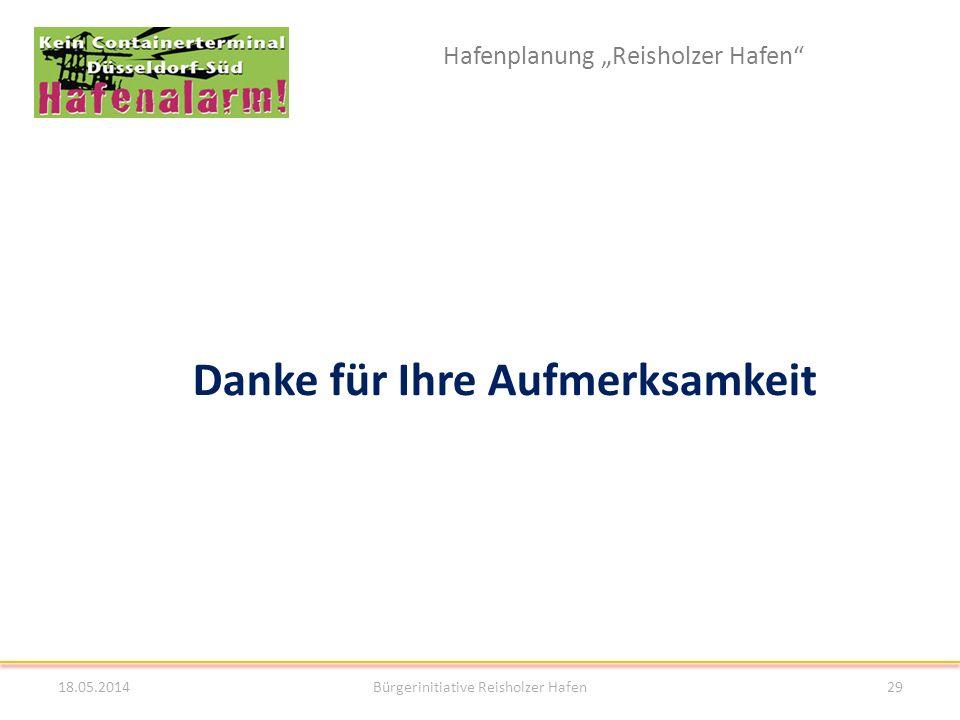 Hafenplanung Reisholzer Hafen 18.05.2014Bürgerinitiative Reisholzer Hafen29 Danke für Ihre Aufmerksamkeit