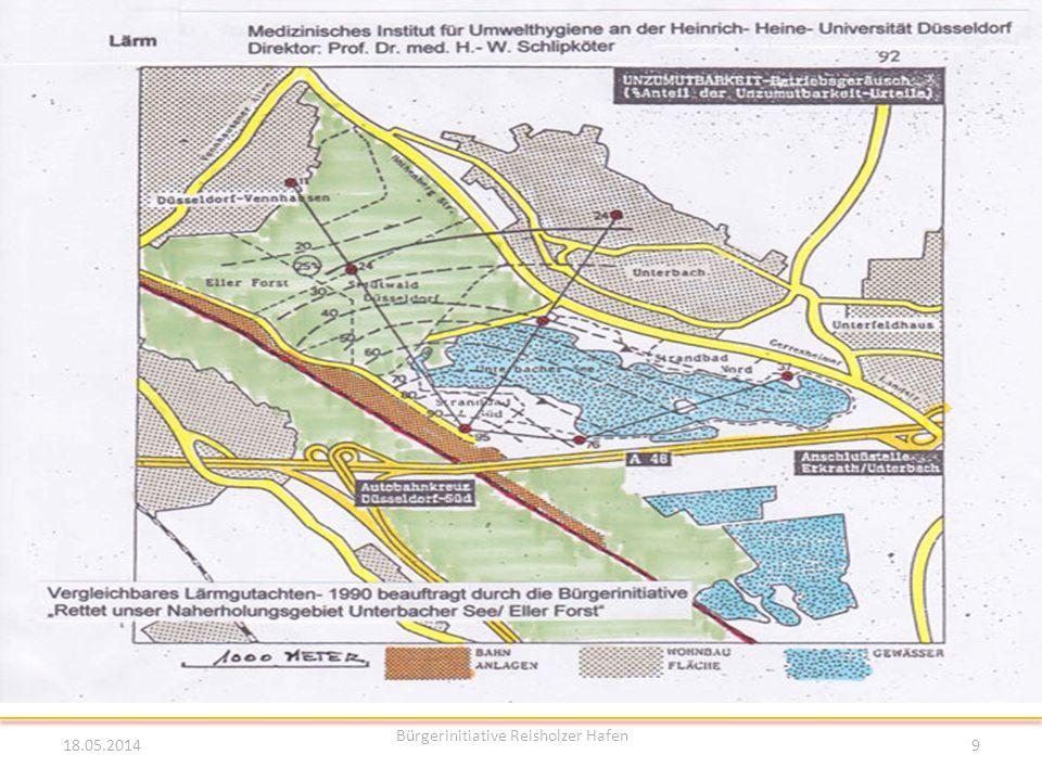Hafenplanung Reisholzer Hafen Lärmbelästigung 18.05.2014 Bürgerinitiative Reisholzer Hafen 9