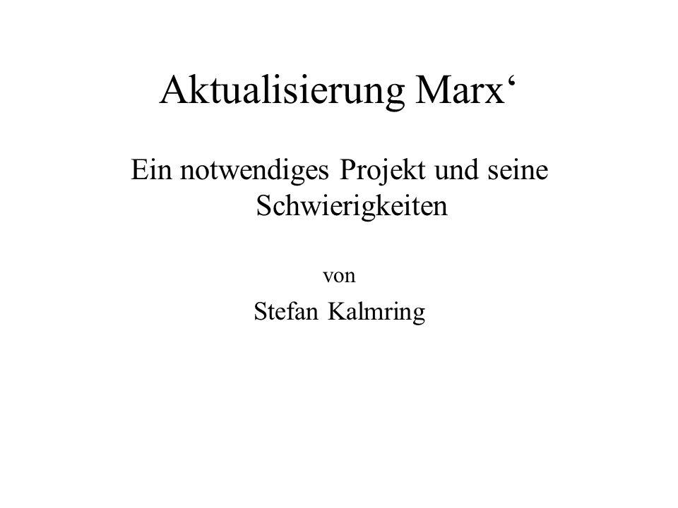 Aktualisierung Marx Ein notwendiges Projekt und seine Schwierigkeiten von Stefan Kalmring