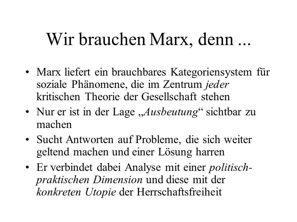 Wir brauchen Marx, denn... Marx liefert ein brauchbares Kategoriensystem für soziale Phänomene, die im Zentrum jeder kritischen Theorie der Gesellscha