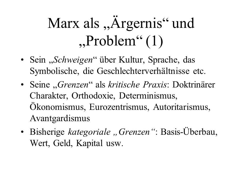 Marx als Ärgernis und Problem (1) Sein Schweigen über Kultur, Sprache, das Symbolische, die Geschlechterverhältnisse etc. Seine Grenzen als kritische