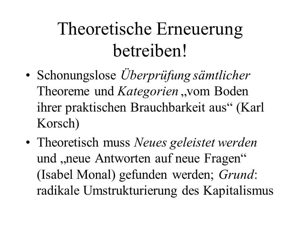 Theoretische Erneuerung betreiben! Schonungslose Überprüfung sämtlicher Theoreme und Kategorien vom Boden ihrer praktischen Brauchbarkeit aus (Karl Ko
