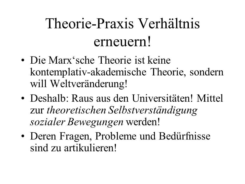 Theorie-Praxis Verhältnis erneuern! Die Marxsche Theorie ist keine kontemplativ-akademische Theorie, sondern will Weltveränderung! Deshalb: Raus aus d