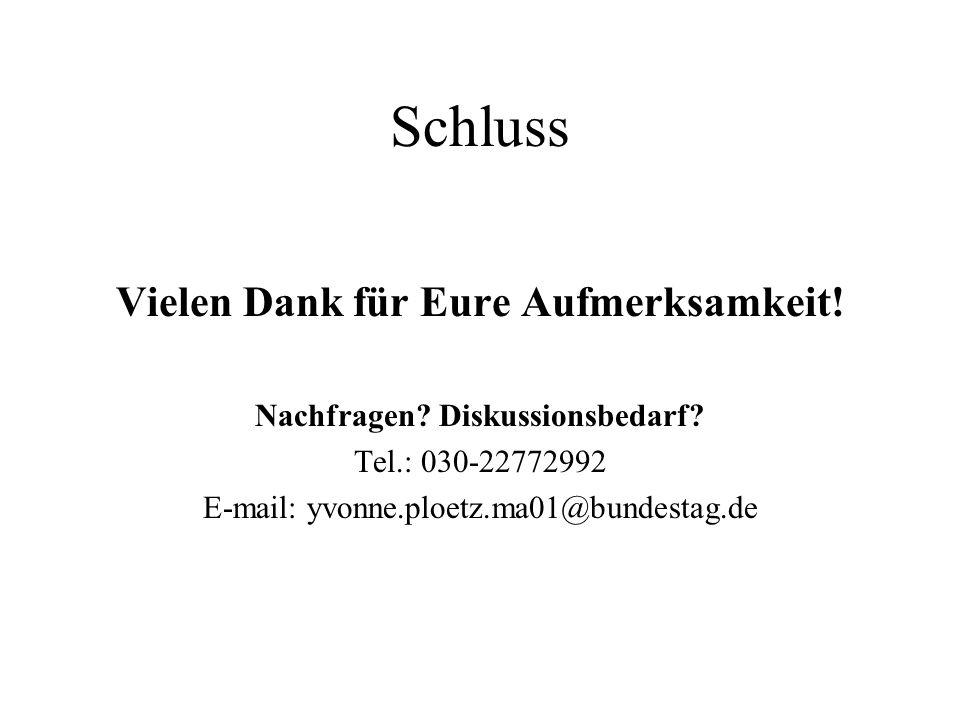 Schluss Vielen Dank für Eure Aufmerksamkeit! Nachfragen? Diskussionsbedarf? Tel.: 030-22772992 E-mail: yvonne.ploetz.ma01@bundestag.de