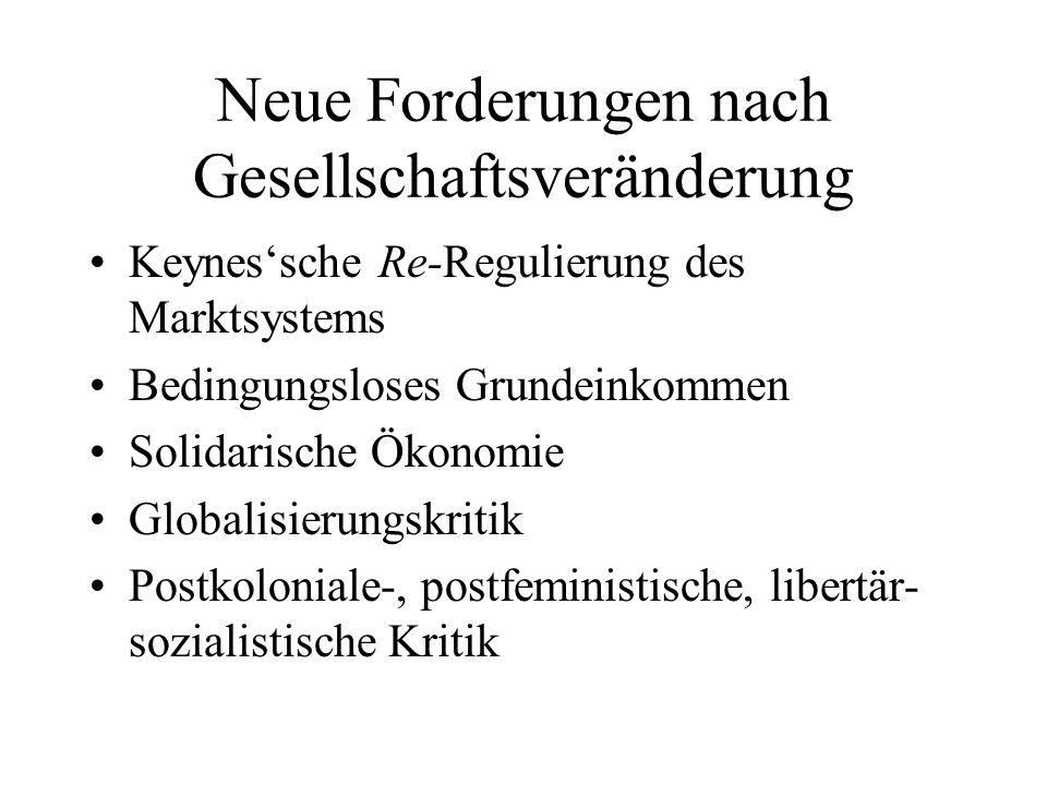 Neue Forderungen nach Gesellschaftsveränderung Keynessche Re-Regulierung des Marktsystems Bedingungsloses Grundeinkommen Solidarische Ökonomie Globali