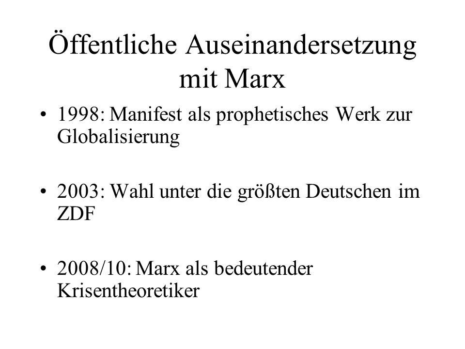 Öffentliche Auseinandersetzung mit Marx 1998: Manifest als prophetisches Werk zur Globalisierung 2003: Wahl unter die größten Deutschen im ZDF 2008/10