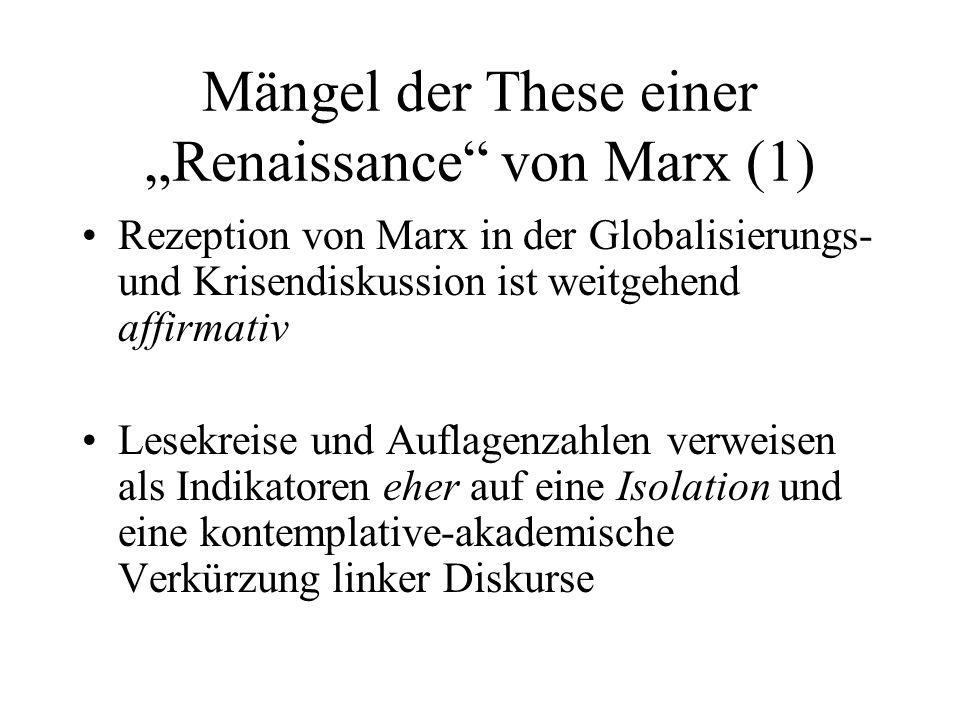 Mängel der These einer Renaissance von Marx (1) Rezeption von Marx in der Globalisierungs- und Krisendiskussion ist weitgehend affirmativ Lesekreise u