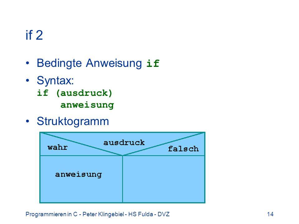 Programmieren in C - Peter Klingebiel - HS Fulda - DVZ14 if 2 Bedingte Anweisung if Syntax: if (ausdruck) anweisung Struktogramm