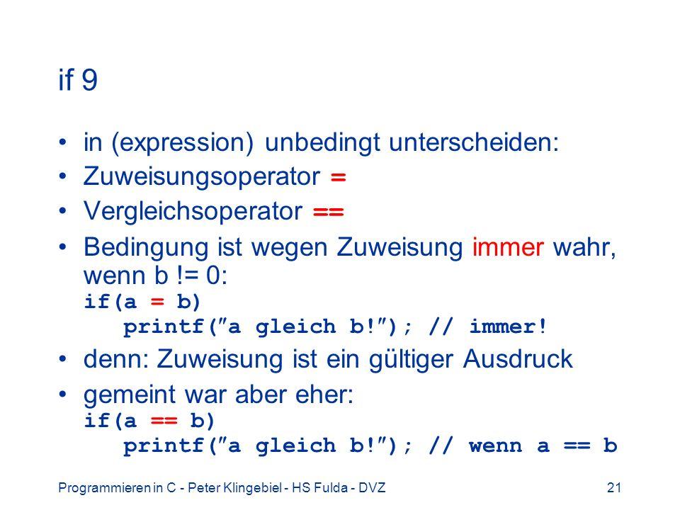 Programmieren in C - Peter Klingebiel - HS Fulda - DVZ21 if 9 in (expression) unbedingt unterscheiden: Zuweisungsoperator = Vergleichsoperator == Bedi