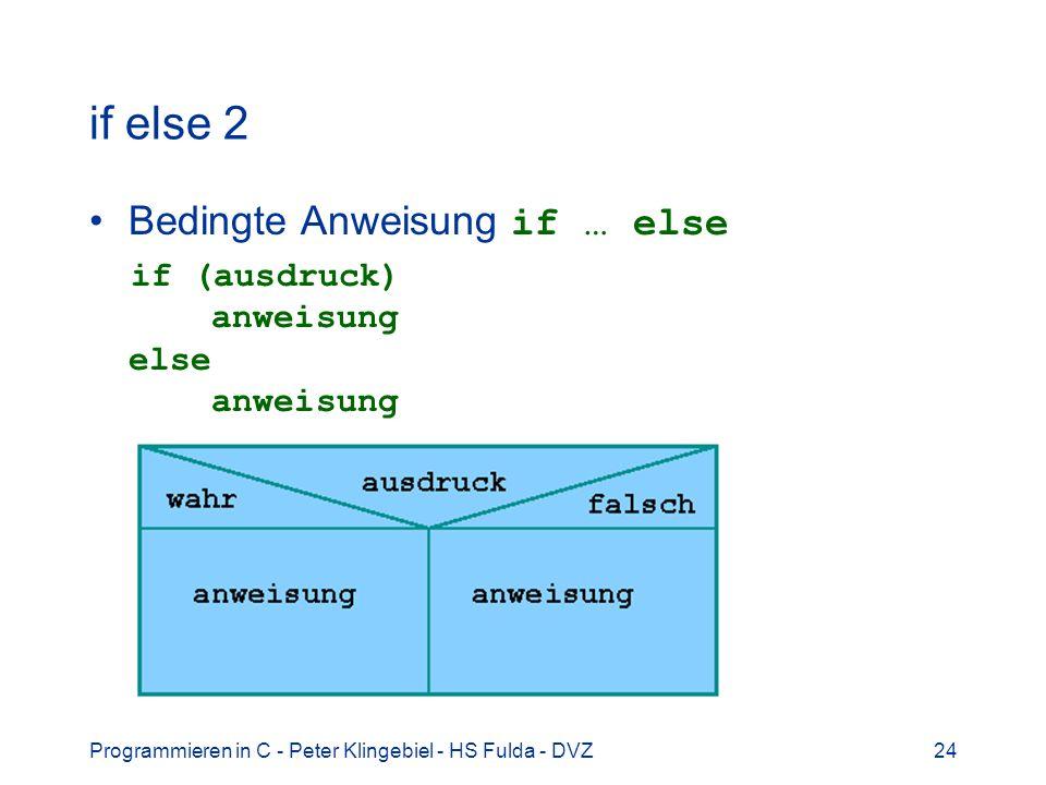 Programmieren in C - Peter Klingebiel - HS Fulda - DVZ24 if else 2 Bedingte Anweisung if … else if (ausdruck) anweisung else anweisung