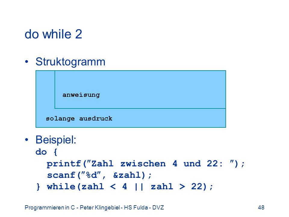 Programmieren in C - Peter Klingebiel - HS Fulda - DVZ48 do while 2 Struktogramm Beispiel: do { printf( Zahl zwischen 4 und 22: ); scanf( %d, &zahl);