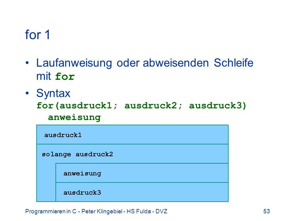 Programmieren in C - Peter Klingebiel - HS Fulda - DVZ53 for 1 Laufanweisung oder abweisenden Schleife mit for Syntax for(ausdruck1; ausdruck2; ausdru