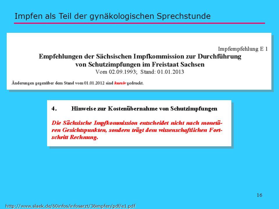 17 http://www.slaek.de/60infos/infosarzt/36impfen/pdf/e1.pdf Impfen als Teil der gynäkologischen Sprechstunde