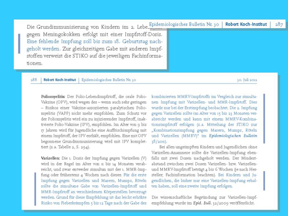 22 Die jüngsten STIKO-Empfehlungen und Richtlinien-Änderungen verlangen in einigen wichtigen Punkten ein Umdenken von uns Frauenärzten Röteln Varizellen Masern Pertussis Influenza Impfen als Teil der gynäkologischen Sprechstunde