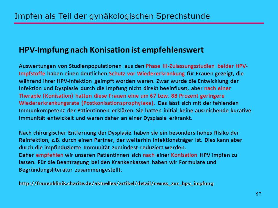 57 http://frauenklinik.charite.de/aktuelles/artikel/detail/neues_zur_hpv_impfung HPV-Impfung nach Konisation ist empfehlenswert Auswertungen von Studi