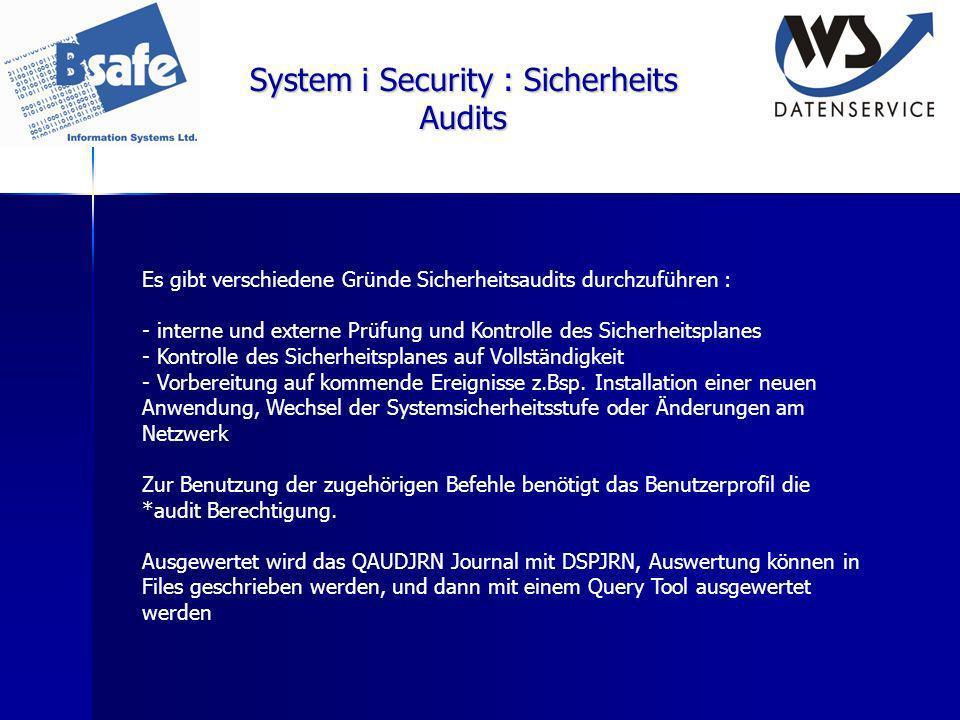System i Security : Sicherheits Audits Es gibt verschiedene Gründe Sicherheitsaudits durchzuführen : - interne und externe Prüfung und Kontrolle des S