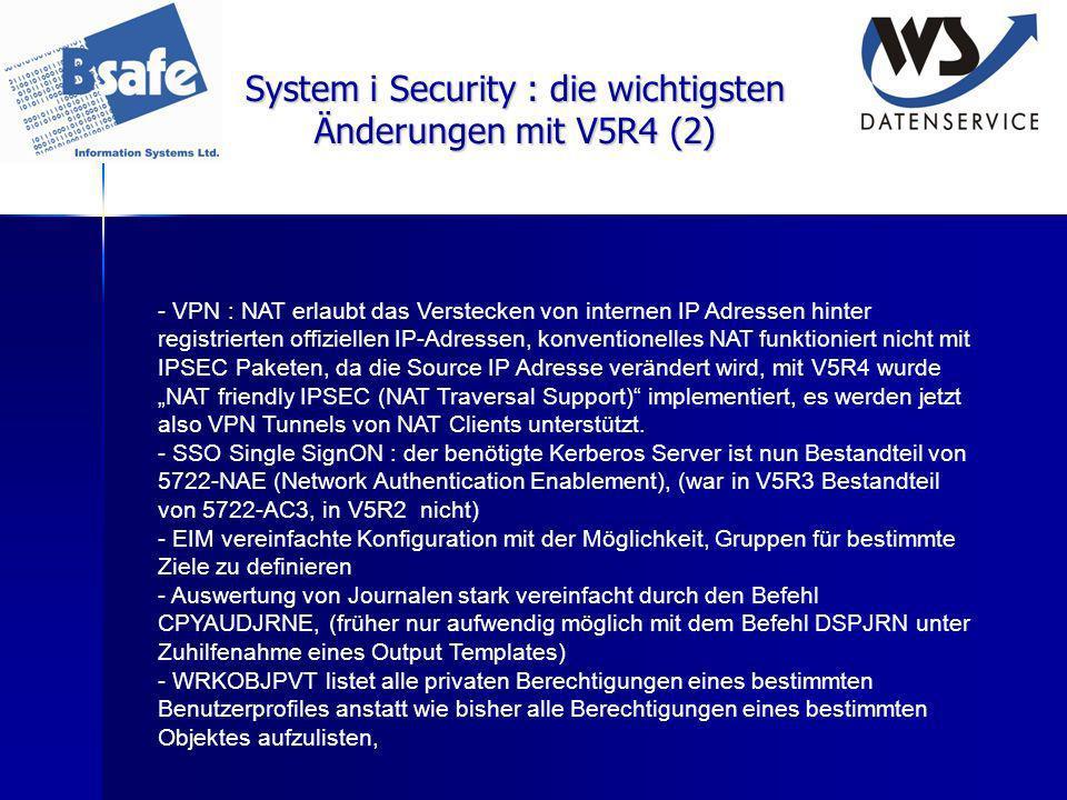 System i Security : die wichtigsten Änderungen mit V5R4 (2) - VPN : NAT erlaubt das Verstecken von internen IP Adressen hinter registrierten offiziell