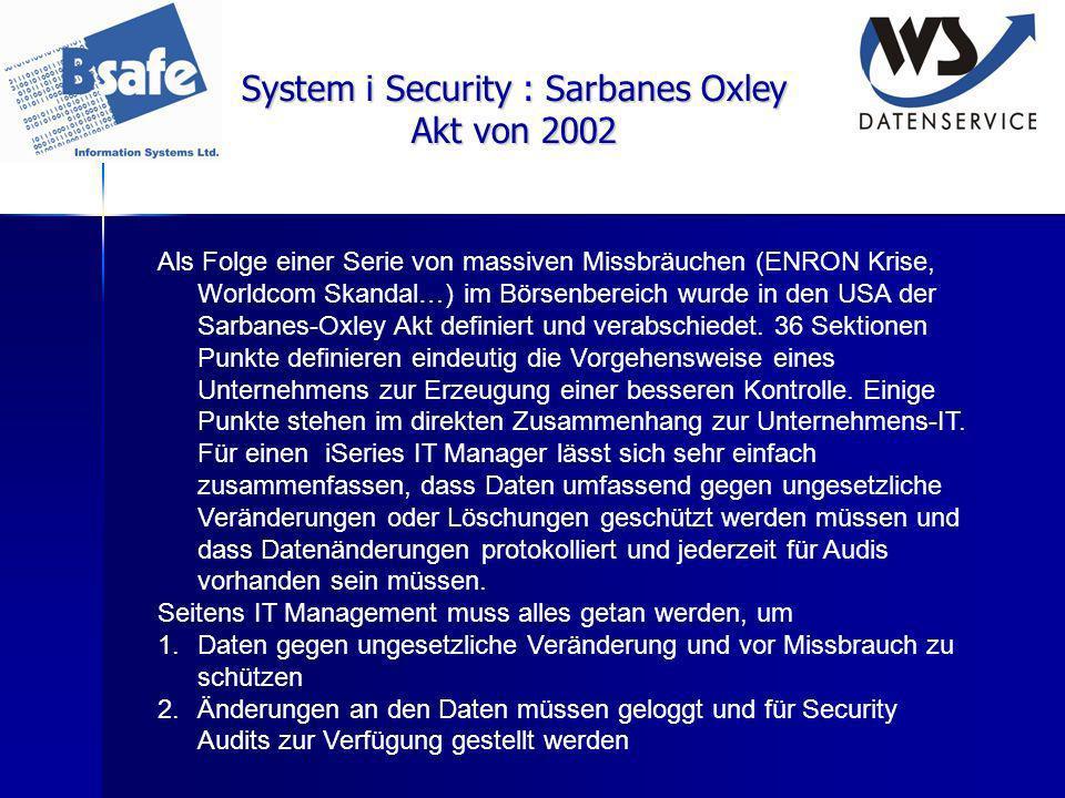 System i Security : Sarbanes Oxley Akt von 2002 Als Folge einer Serie von massiven Missbräuchen (ENRON Krise, Worldcom Skandal…) im Börsenbereich wurd