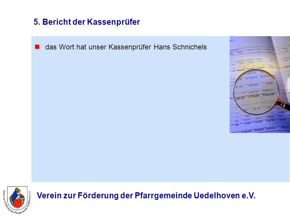 Verein zur Förderung der Pfarrgemeinde Uedelhoven e.V. 5. Bericht der Kassenprüfer das Wort hat unser Kassenprüfer Hans Schnichels