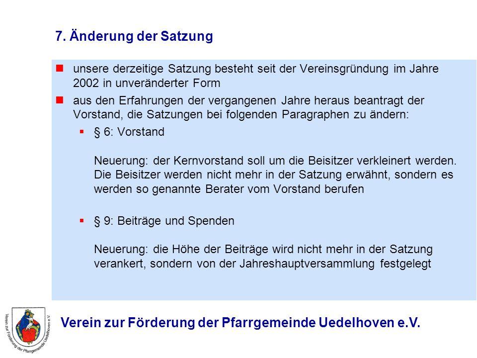 Verein zur Förderung der Pfarrgemeinde Uedelhoven e.V. 7. Änderung der Satzung unsere derzeitige Satzung besteht seit der Vereinsgründung im Jahre 200