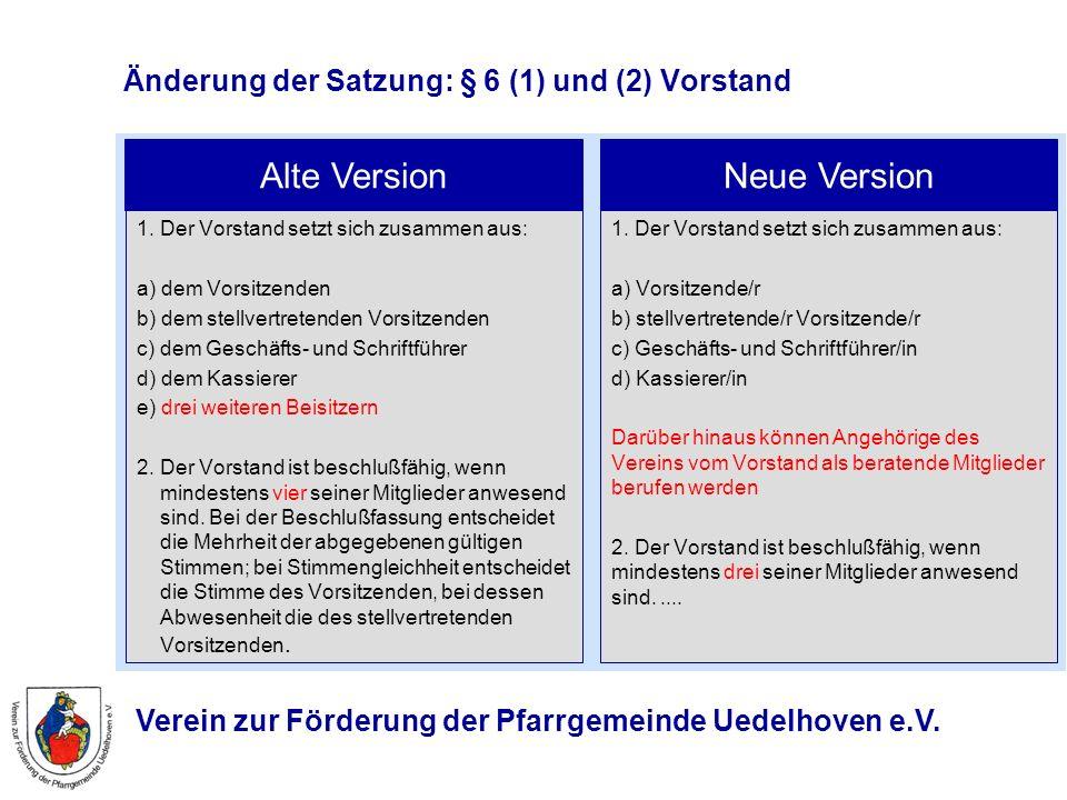 Verein zur Förderung der Pfarrgemeinde Uedelhoven e.V. Änderung der Satzung: § 6 (1) und (2) Vorstand 1. Der Vorstand setzt sich zusammen aus: a) dem