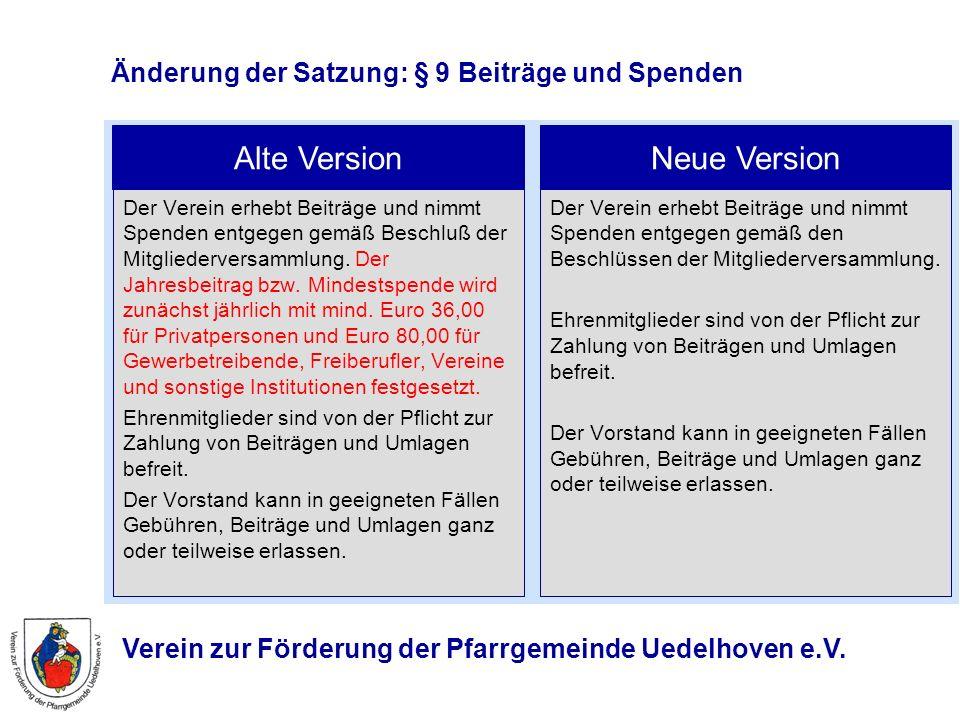 Verein zur Förderung der Pfarrgemeinde Uedelhoven e.V. Änderung der Satzung: § 9 Beiträge und Spenden Der Verein erhebt Beiträge und nimmt Spenden ent
