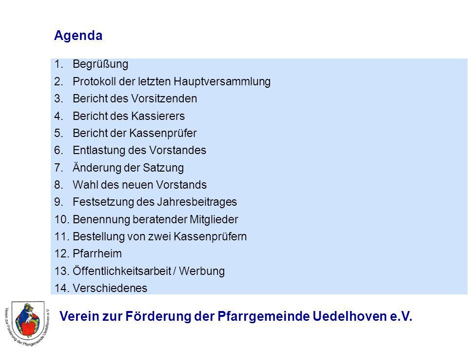 Agenda 1. Begrüßung 2. Protokoll der letzten Hauptversammlung 3. Bericht des Vorsitzenden 4. Bericht des Kassierers 5. Bericht der Kassenprüfer 6. Ent