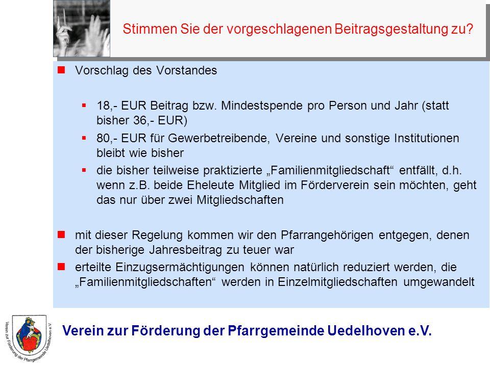 Verein zur Förderung der Pfarrgemeinde Uedelhoven e.V. 9. Festsetzung des Jahresbeitrages Vorschlag des Vorstandes 18,- EUR Beitrag bzw. Mindestspende