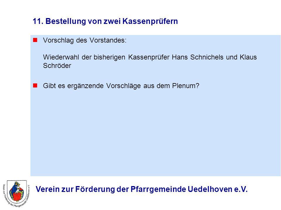 Verein zur Förderung der Pfarrgemeinde Uedelhoven e.V. 11. Bestellung von zwei Kassenprüfern Vorschlag des Vorstandes: Wiederwahl der bisherigen Kasse