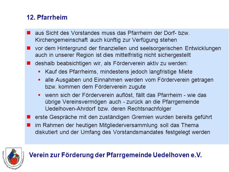 Verein zur Förderung der Pfarrgemeinde Uedelhoven e.V. 12. Pfarrheim aus Sicht des Vorstandes muss das Pfarrheim der Dorf- bzw. Kirchengemeinschaft au