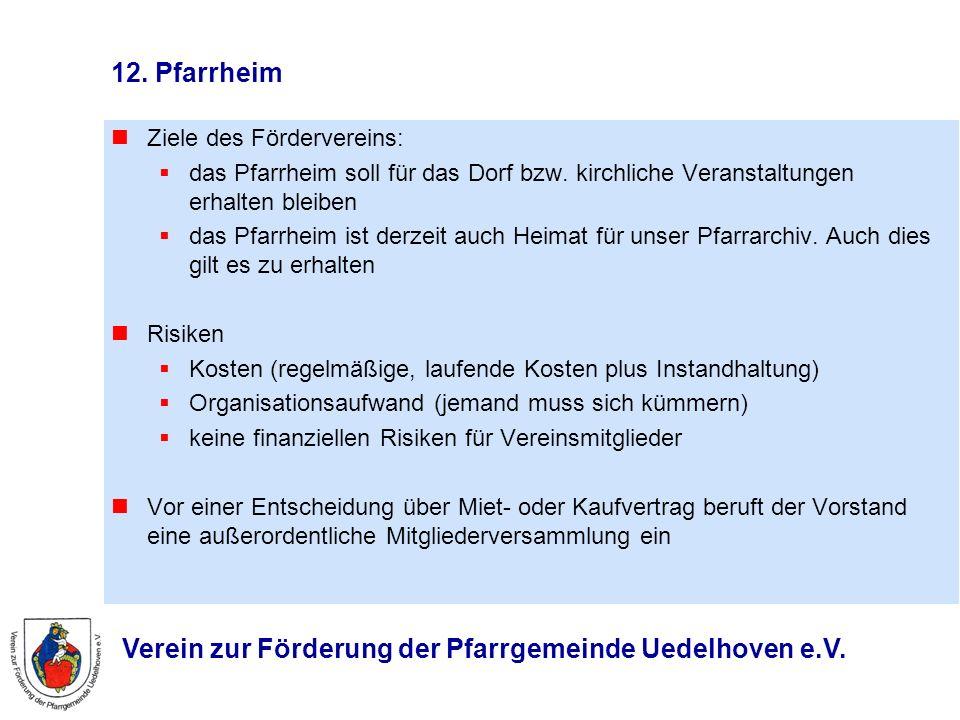 Verein zur Förderung der Pfarrgemeinde Uedelhoven e.V. 12. Pfarrheim Ziele des Fördervereins: das Pfarrheim soll für das Dorf bzw. kirchliche Veransta