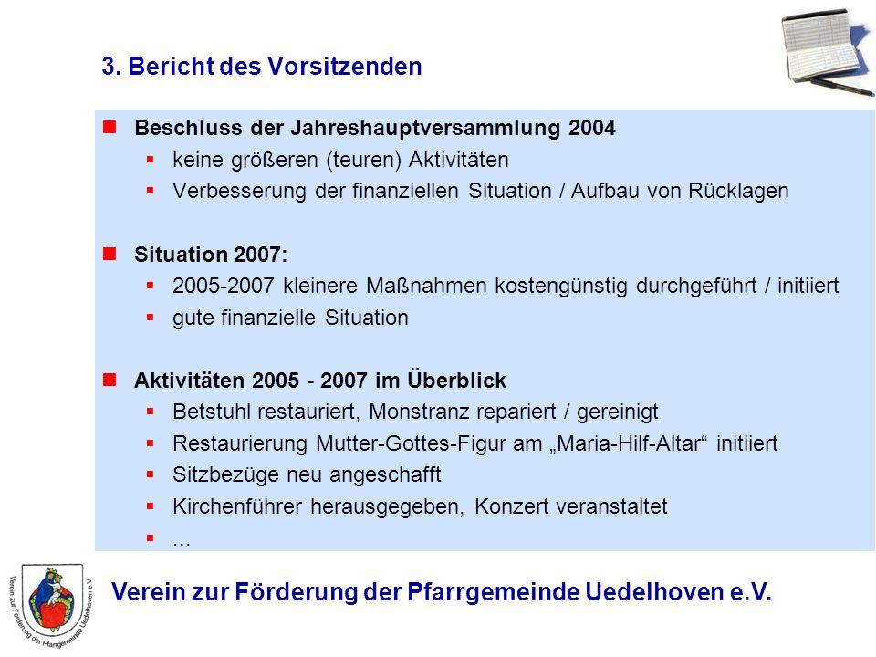 Verein zur Förderung der Pfarrgemeinde Uedelhoven e.V. 3. Bericht des Vorsitzenden Beschluss der Jahreshauptversammlung 2004 keine größeren (teuren) A